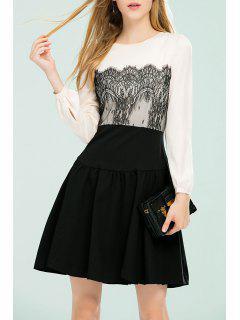 A Line Lace Insert Dress - Black S