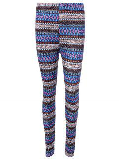 Ethnic Printed High Waist Leggings - Blue
