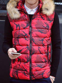 Furry Hood Camouflage Zip Up Down Waistcoat - Red M