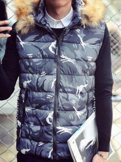 Furry Hood Camouflage Zip Up Down Waistcoat - Gray 2xl