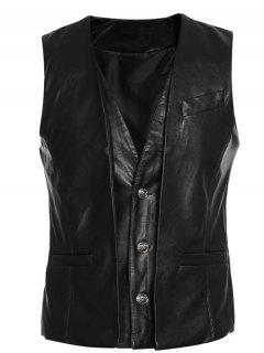 Faux Twinset V-Neck Single-Breasted PU-Leather Wasitcoat - Black M