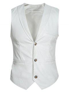 Shawl Collar Slim Fit PU Vest - White M