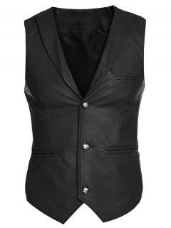 Shawl Collar Slim Fit PU Vest - Black M