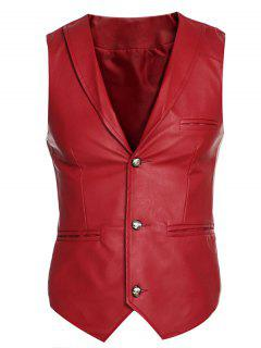 Shawl Collar Slim Fit PU Vest - Red Xl