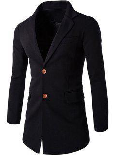 Slim Constrast Button Back Slit Blazer - Black L