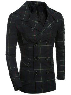 Double Breasted Turndown Collar Checked Coat - Checked M