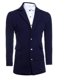 Single Breasted Lapel Slimming Woolen Coat - Cadetblue L