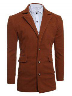 Single Breasted Lapel Slimming Woolen Coat - Camel M