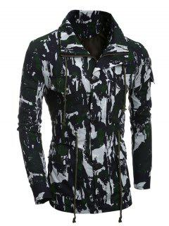 Multi-Pocket Zip Up Camouflage Coat - Green Xl