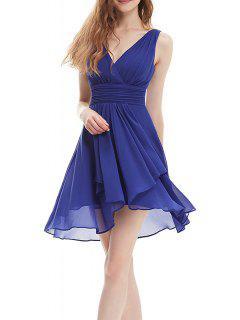 Backless Chiffon Party Dress - Sapphire Blue S