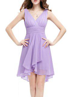 Backless Chiffon Party Dress - Light Purple S