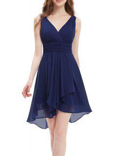 Backless Chiffon Party Dress - Deep Blue S