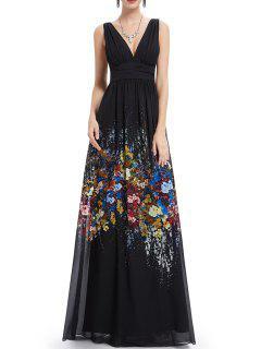 Backless Floral Prom Dress - Black S