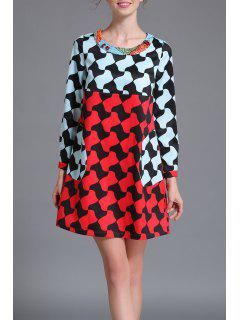 Color Block Trapeze Mini Dress - Multicolor L