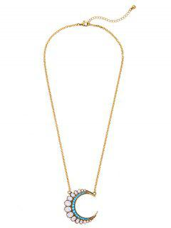 Faux Crystal Moon Pendant Necklace - White