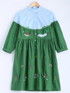 Embroidered Color Block Smock Dress - Blue And Green