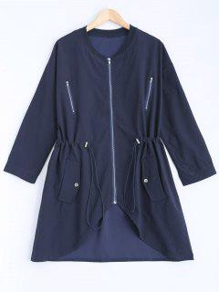 Stand Neck Plus Size Drawstring Coat - Cadetblue 2xl