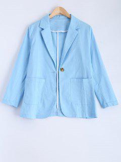 One Button Pockets Blazer - Light Blue S