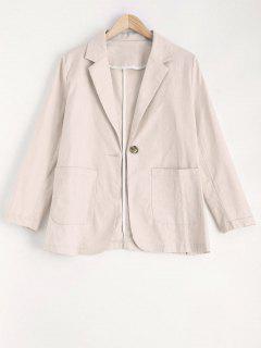 One Button Pockets Blazer - Off-white S