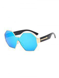 Arrow Polygon Mirrored Sunglasses - Ice Blue