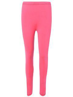 Elatic Waist Color Block Sport Leggings - Deep Pink