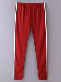 Pantalons Casual Moulant Avec Rayure Latérale - Rouge Vineux