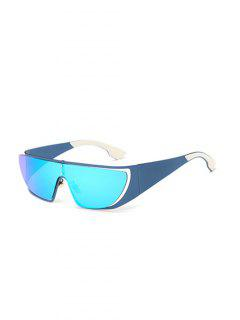Hollow Out Cycling Mirrored Sunglasses - Ice Blue