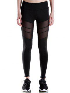 Voile Patched Stretchy Sport Leggings - Black L