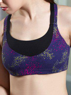 Galaxy Print Yoga Bra - Purple S