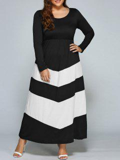 Zigzag Long Sleeve Plus Size Maxi Dress - White And Black 3xl