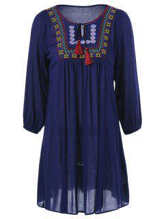 Tie Front Embroidered Peasant Dress - Purplish Blue M