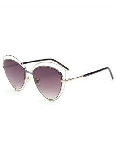 Hollow Out Double Cat Eye Sunglasses - Silver