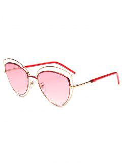 Hollow Out Double Cat Eye Sunglasses - Pink