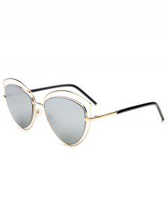 Hollow Out Double Cat Eye Sunglasses - Golden