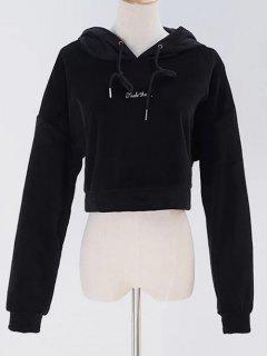Velvet Pullover Cropped Hoodie - Black