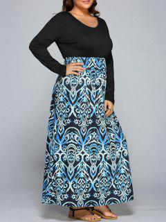 Floral Print Spliced ​​Maxi Dress - 3xl