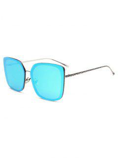 Faux Jade Irregular Square Mirrored Sunglasses - Ice Blue