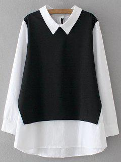 Long Sleeve Button Back Top - White And Black 3xl