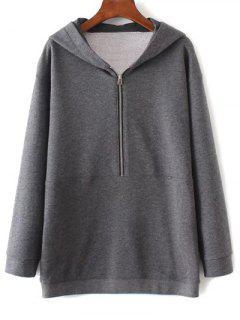 Oversized Zipped Hoodie - Gray L