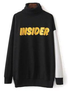 Turtle Neck Oversized Graphic Sweatshirt - Black S