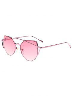 Delicate Crossbar Irregular Cat Eye Sunglasses - Pink