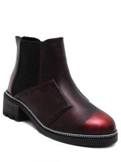 Elastic Band Stitching Chain Ankle Boots - Wine Red 38