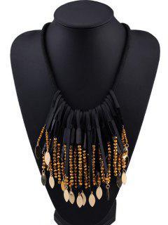 Leaf Tassel Beaded Necklace - Golden