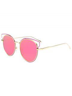 Cut Out Metal Cat Eye Mirrored Sunglasses - Peach Pink