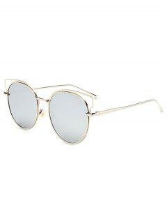 Cut Out Metal Cat Eye Mirrored Sunglasses - Silver