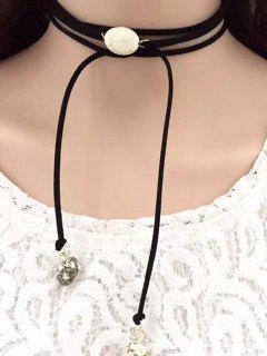 Faux Turquoise Tie Choker - Black