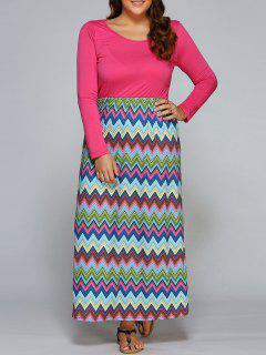Chevron Stripe Spliced Maxi Dress - S