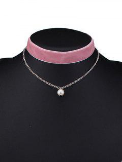 Layered Faux Pearl Velvet Choker - Light Pink