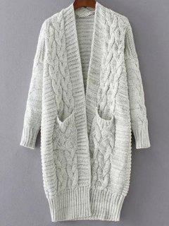 Chunky Cable Knit Longline Cardigan - Off-white