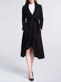 Midi Wrap Trench Coat - Black